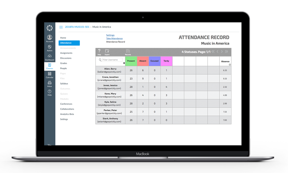 Laptop attendance screen