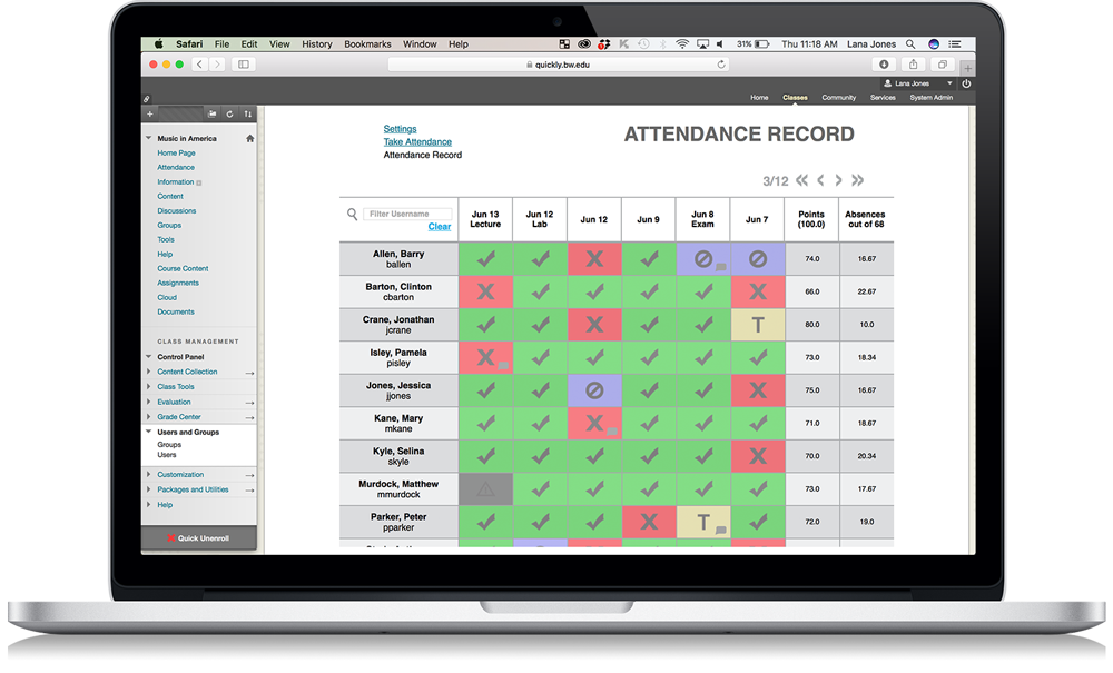 qwickly attendance blackboard attendance with grade center integration